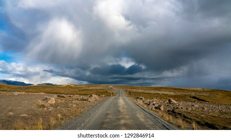 Roads and landscape of Thingvelir National Park in South Iceland.