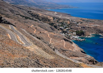 Roads on Crete Island. Road to Anopoli and Aradena