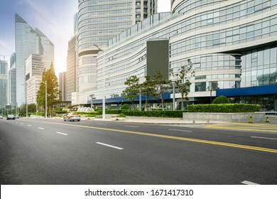 Roads and skyscrapers in the financial center, Qingdao, China