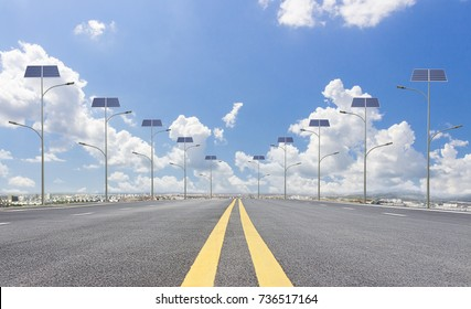 Roads and solar street lamps in the city