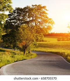 Roads at sunset