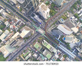Roads and tall buildings in downtown Bangkok, Thailand.City views are very important business areas.Beautiful street.Aerial view and top view.