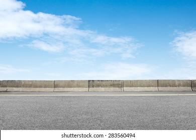 Roadside and concrete on blue sky