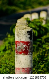 Roadside concrete pillars isolated unique photo