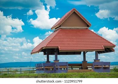Roadside hall, Pavilion and blue sky, Nong Han Lake, Pavilion in the park,Pavilion in the lake.