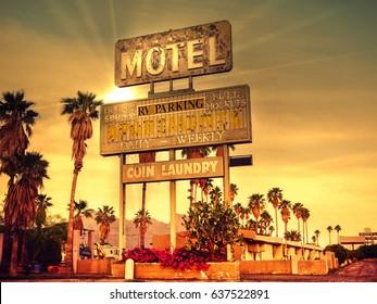 Roadside motel sign - iconic desert Southwest USA