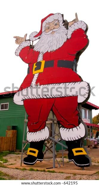 Christmas Michigan.Roadside Santa Clause Christmas Michigan Stock Photo Edit