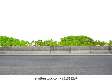 Roadside view and shrubs on white background