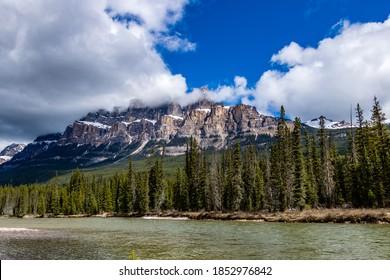 Roadside views along hiway 93 in late spring. Banff National Park, Alberta, Canada