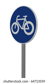roadsign bicycle on white background - 3d illustration
