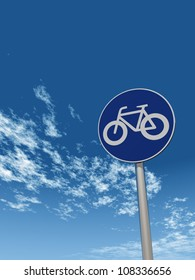 roadsign bicycle under cloudy sky - 3d illustration