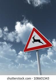 roadsign deer crossing under cloudy blue sky - 3d illustration