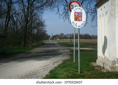 Roadsign indicating the entratnce in Czechia, with its coat of arms and Czech republic written in Czech, at the border with Austria between Novy Prerov and Alt Prerau indicating presence of frontier - Shutterstock ID 1970310437