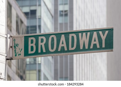 Roadsign of Manhattans famous Broadway with blurred background