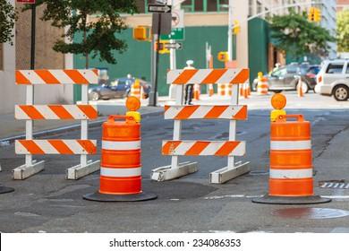 Roadwork signs on the Street