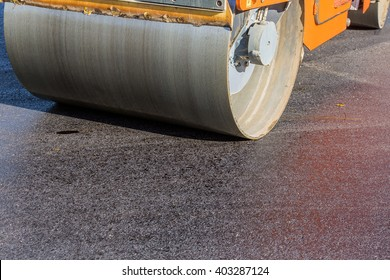Roadworks on laying of a new of asphalt
