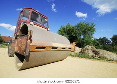 Roadworks with a road roller