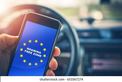 Roaming Free Euro Zone. Texting, Calling and Internet Use Without Roaming Charges Within Euro Zone. Concept Photo.