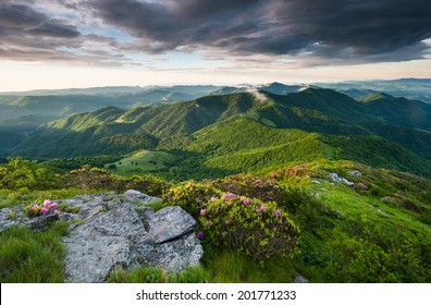 Roan Highlands Southern Appalachian Mountain Scenic along the Appalachian Trail near the state borders of North Carolina and Tennessee