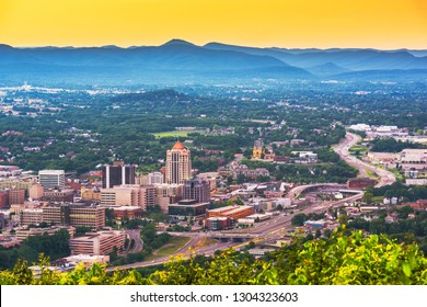 Roanoke, Virginia, USA downtown skyline from above at dusk.