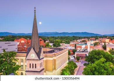 Roanoke, Virginia, USA downtown skyline and steeple at dawn.