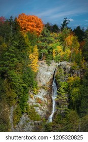 Roaring Brook Falls showing autumn color in Keene Valley, the Adirondacks, New York