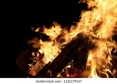 Roaring fire at night