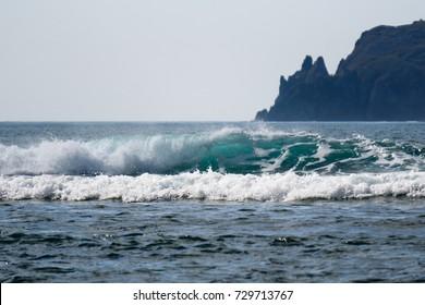 Roaring stormy ocean waves