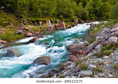 The roaring waters of the Stura river in the Lanzo Valleys, Piedmont, Italy