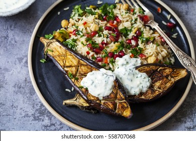 Roast aubergine with Persian jeweled rice