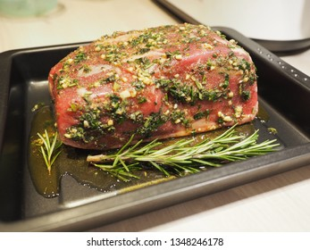 Roast beef before roasting on the grill