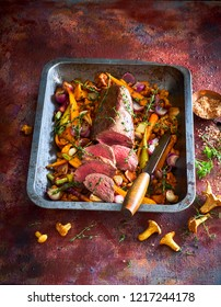 Roast beef with chanterelles