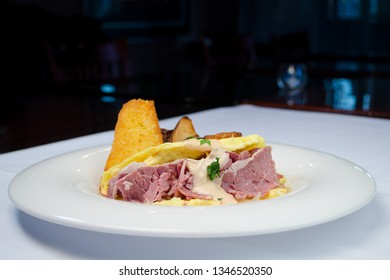 roast beef omelette with cornbread and grilled potatoes