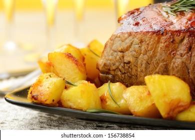 roast beef with potatoes