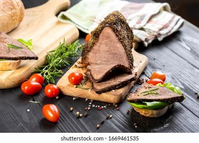 roast beef sandwich with herbs