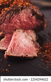roast beef steak with chipotle chilli flakes, perfectly sous vide cooked and grilled on wood