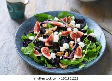 Roast beetroot, figs and feta salad