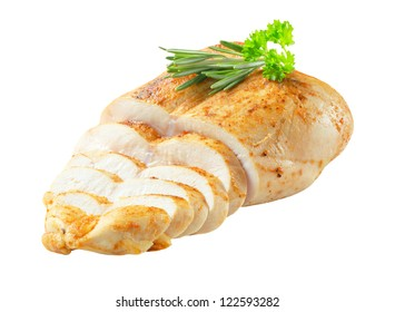 Roast chicken breast isolated on white