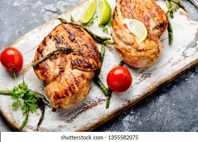 Roast chicken breast with vegetables.Grilled chicken breast