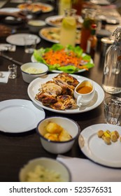 roast chicken display on table restaurant. Selective focus, shallow depth of field.