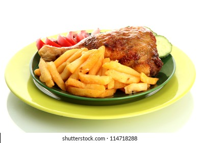 Roast chicken with french fries and cucumbers on plate, isolated on white