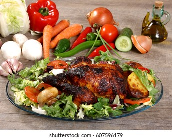 Roast Chicken & Salad Lunch - Surrounded by Vegetables