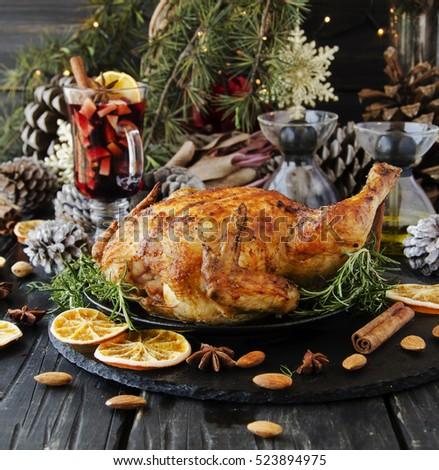 Roast Chicken Turkey Christmas New Year Stock Photo Edit Now