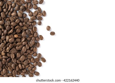 Roast coffee beans isolated on white background