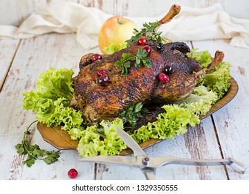 roast duck and apples