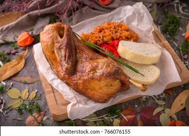 Roast Duck. Crispy whole roast duck. Thanksgiving or Christmas Dinner. Beautiful stylish menu. Autumn still life. Free space for text