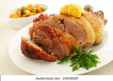 roast duck with seasonal vegetables