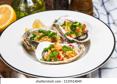 Roast oysters plate