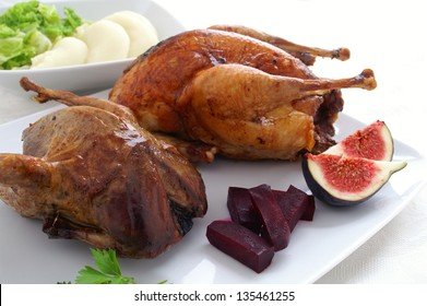 roast partridge and pheasant