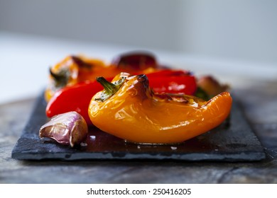 Roast peppers and garlic